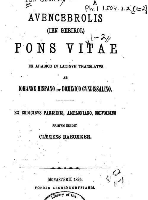 Živilė Pabijutaitė. Saliamonas ibn Gabirolis ir jo Fons vitae (NŽA nr. 5)
